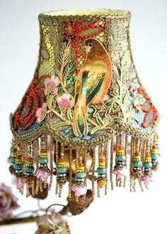 Fine Design Boho Lamp Shades Nightshades Victorian Lampshade With Bird Figurine And Porcelain - Lamps Decor Ideas Victorian Lamps, Antique Lamps, Vintage Lamps, Victorian Crafts, Bohemian Lamp, Boho Decor, Lamp Shades For Sale, Rustic Lamp Shades, Decorative Lamp Shades