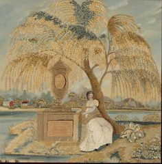 """""""Mourning picture"""" from the MFA Boston. This embroidery was created around 1820 and shows a women with a funeral memorial under a weeping willow, a traditional mourning symbol."""