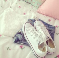 White converse High waisted shorts White lace belly shirt YES PLEASE!!