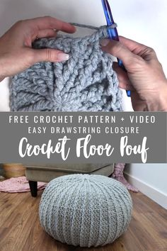 Free Crochet Floor Pouf tutorial. Easy insert and drawstring closure. Textured crochet floor pouf for your home or office. Pouf En Crochet, Crochet Cushions, Chunky Crochet, Diy Crochet Ottoman, Knitted Pouffe Pattern, Crochet Cushion Pattern Free, Crochet Floor Cushion, Easy Crochet Socks, Diy Crochet Hat