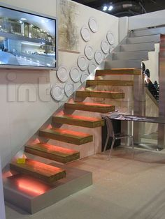 Lighted Floating Stairs by Interbau Srl