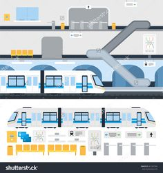 Metro station and passenger train vector flat illustration. Set with train, map, moving staircase, navigation, passenger seats, turnstile for website infographics. Isolated on white background. Website Design Layout, Web Layout, Design Layouts, Website Designs, Train Station Map, Train Map, Train Illustration, Flat Design Illustration, Clean Web Design