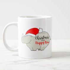 Christmas Rhino Cute Cartoon Funny Chic for Kids Giant Coffee Mug - Xmas ChristmasEve Christmas Eve Christmas merry xmas family kids gifts holidays Santa