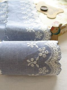 embroidered denim lace 1yard width 9cm 51311 by cottonholic, $6.40