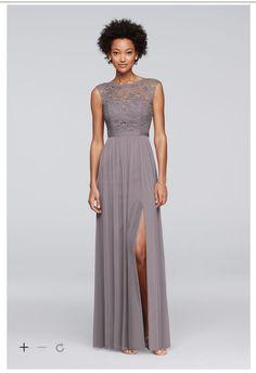 28e31c3356f Gray long bridesmaid dress features a lace bodice