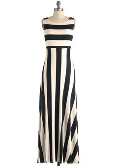 Top of the Byline Dress - Jersey, Long, Black, White, Stripes, Casual, Maxi, Sleeveless, Scoop, Daytime Party, Spring, Summer, Basic, Top Rated