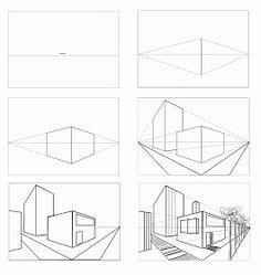 Perspektive Mit 2 Fluchtpunkten Futuristisches Gebaude Unterricht