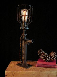 homemade lighting ideas. Rustic Industrial Lamp With Edison Light Bulb. LampsRustic IndustrialLamp IdeasHomemade Homemade Lighting Ideas W