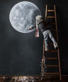 blackboard walls and chalkboard ideas for kids' rooms | chalkboard wall with moon sticker