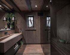 Baderomsdetaljer🤗 Built by Bathroom furniture by Design Foto Lodge Bathroom, Modern Lodge, Mountain Cottage, Winter Cabin, Cabin Interiors, Cabin Homes, Bathroom Interior Design, Bathroom Furniture, Instagram