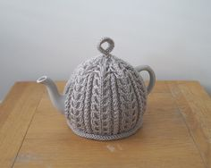 Hand Knitted Tea Cosy Taupe IMBER by Lindyknits on Etsy
