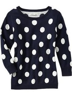 Old Navy - Women's Printed Crew-Neck Pullovers - Navy Polka-Dot
