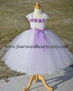 White and Lavender Girls Tutu Dress Flower por FourSweetHeartsTutus