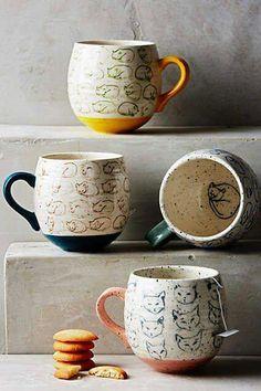 Anthropology home kitchenware Cat Study Mug by Leah Goren Coffee Cups, Tea Cups, Coffee Coffee, Kitchenware, Tableware, Cat Mug, Ceramic Pottery, Ceramic Mugs, Dinnerware