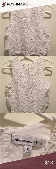 White Abercrombie & Fitch Eyelet Crop Top, size S White eyelet crop top. Perfect for summer! Abercrombie & Fitch Tops Crop Tops