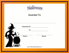 Free printable halloween certificates halloween cards jack o an orange border and a witch stirring a cauldron adorn this free printable halloween certificate yelopaper Images