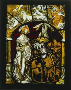 Heraldic Panel: Arms of Lichtenfels and a Unicorn Hunt    Germany, (Freiburg ?) or Switzerland, (Basel ?), 16th century    Date: c. 1515    Medium: pot metal and white glass with silver stain    via Cleveland Museum of Art