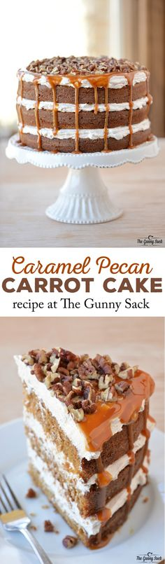 Everyone will love this epic Caramel Pecan Carrot Cake recipe with layers of fluffy filling, caramel drizzling down the sides and chopped pecans on top. Cake for lady Mini Desserts, Just Desserts, Delicious Desserts, Cupcake Recipes, Cupcake Cakes, Dessert Recipes, Cake Cookies, Sweets Cake, Impressive Desserts