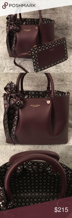 """HENRI BENDEL Claremont Satchel *New and Unused       (Tags included but HB does not attach them) *Color: Port (Burgundy) *Dimensions:       Bag - 8""""H x 11.5""""W x 3.5""""D      Pouch - 5.5""""H x 8.75""""W      Strap - 38.5"""" to 42.5"""" *Includes:      Detachable zippered pouch      Removable & adjustable shoulder strap      Henri Bendel dust bag      Removable Skinny Mini Claremont Scarf      *(scarf is bow seen on bag)        Original retail price for bag - $350. Scarf was sold separately & retailed for…"""