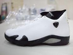 Unreleased sample Air Jordan 14 in a clean white leather.