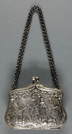 Woman's silver purse, ca. 1850; Medium:  Silver, leather Dimensions:  3 1/4 x 4 inches | In the Swan's Shadow