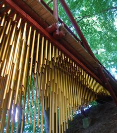 The kinetic sculpture 'Chimecco' is a large interactive wind chime & bridge by artist Mark Nixon.