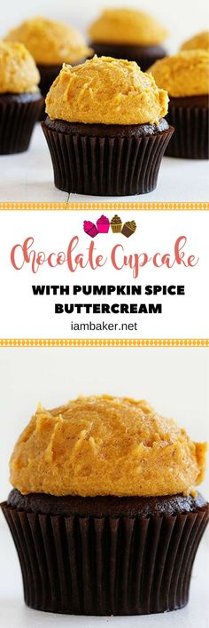 Delicious cupcake with pumpkin spice buttercream! Check out the recipe at iambaker.net!