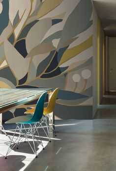 Wallpaper scenic foliage nelumbo mustard - scenario of montecolino. Mural Painting, Mural Art, Wall Murals, Wall Painting Design, Wall Decor, Room Decor, Girl Bedroom Designs, Interior Decorating, Interior Design