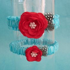 Tiffany Blue and Red Feather Rose Wedding Garter by HARTfeltart, $40.00