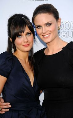 Zooey Deschanel from the TV hit series New Girl and her sister Emily Deschanel from the series Bones.