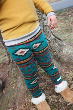 Teal Aztec Leggings.Southwestern.Legwear.Baby leggings.Boys Leggings.Childrens Leggings.Tribal Print..Girls Leggings.Kids Pants.SZ NB to 5T