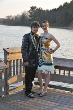"Ryan and Gabrielle are top ten finalists in Duck Brand's competition to make prom outfits with duct tape and now their final position is based on community votes. | This Couple Created Amazing Glow-In-The-Dark ""Great Gatsby"" Prom Outfits Out Of Duct Tape"
