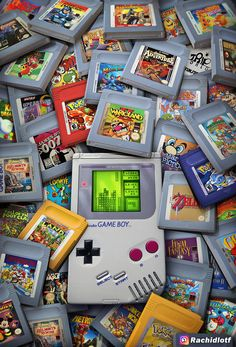 Game Boy Legacy - Created by An amazing piece of nostalgia. Retro Videos, Retro Video Games, Video Game Art, Retro Games, Game Boy, Mundo Dos Games, Nostalgic Pictures, Gaming Wallpapers, Nintendo Games