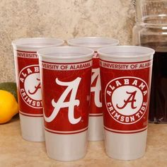 "Alabama Plastic Cups 4-pack by Football Fanatics. $5.95. Dishwasher Safe. Top Shelf. Team Colors. ""A"" in front. Official Licensed Collegiate Products. Get the party going with these sturdy plastic souvenir cups featuring team-colored graphics! They are perfect for game day cocktails and durable enough to use over and over again!Durable plasticHolds approximately 24 ouncesHigh-quality team graphicsDishwasher safeMade in the USAOfficially licensed collegiate product"