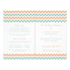 "Simple yet elegant, the modern chevron wedding collection is a stunning design featuring a lovely zig-zag print in a peach, mint and white color, which is perfect for any modern wedding celebration. <br> <br> These programs can be personalized for your special occasion and would make the perfect order of service for your wedding, bridal shower, engagement party, birthday party and many more special occasions. <br> <br> Add your custom wording to this design by using the ""Edit this design ..."
