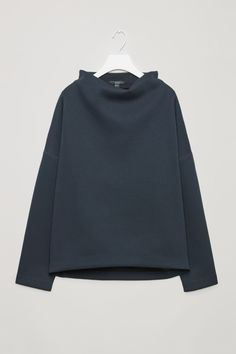COS Scuba top with stitch detail in Navy