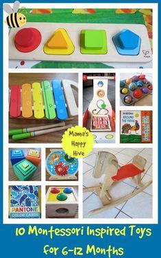 Montessori Inspired Toys - 6 to 12 Months - Mama's Happy Hive Montessori Toddler, Montessori Activities, Infant Activities, Toddler Toys, Baby Toys, Kids Toys, Activities For Kids, Montessori Playroom, Baby Learning