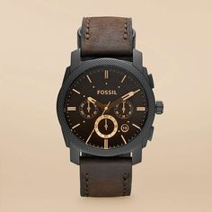 Machine Leather Watch-Brown from Fossil. For men.  It is gorgeous! Love the vintage yet modern look.