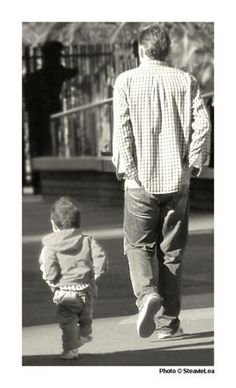 Like father, like son...love this one...love people walking away...
