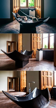This bathtub is made by carbon fiber weaving that has given it stylish curvaceous shape and a firm structure. Bathroom Interior Design, Interior Decorating, Home Decor Furniture, Jacuzzi, Interior Architecture, Living Spaces, House Design, Decoration, Carbon Fiber