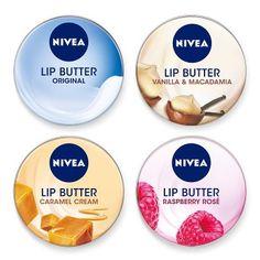 Nivea Lip Butter - Caramel Cream, Raspberry Rose, Original, and Vanilla & Macadamia. #Weihnachtsgeschenk