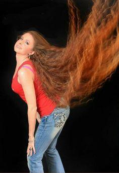 Big hair flip toss