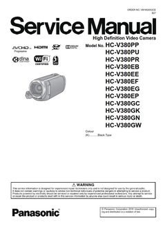 45 Best Panasonic Camcorder Service Manual images in 2019