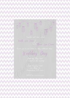 Mason Jar Printable Custom Wedding Invitation Purple and Gray. Fancy Custom wedding invitation.  Yellow and gray invitation formal party