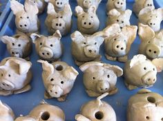 clay pigs for after painting pigs Apex Elementary Art
