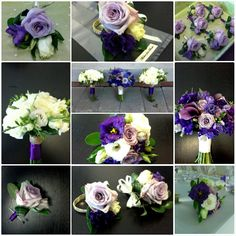 purple and white bridal party flowers with roses, freesia, callas and lisianthus; design by Davis Floral Creations