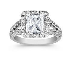 Radiant Halo Diamond Engagement Ring shown with diamond center; your choice of ruby, sapphire or diamond center