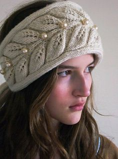 leaf and pearl ear warmer headband