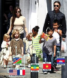 Brad Pitt and Angelina Jolie out shopping with their United Nations of kids - {Want To Adopt someday}