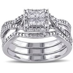 Miadora Sterling Silver 1/2ct TDW Princess Diamond Bridal Set ($349) ❤ liked on Polyvore featuring jewelry, rings, white, round diamond ring, wedding band rings, sterling silver rings, diamond band ring and round engagement rings